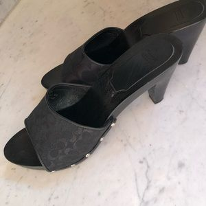 Coach Brenda Logo Open-Toe Mule Wood Heel 10 Black